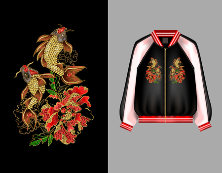 A print for a bomber or a swisshot with embroidery of Japanese carp koi and peony flowers. Patches are embroidered with sequins and beads. Vector illustration.