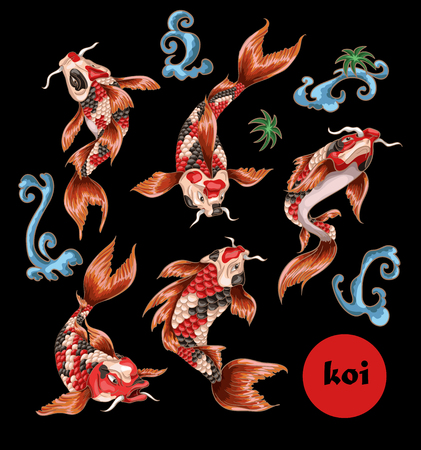 Japanese traditional carp koi for embroidery or print.