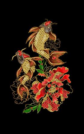 Pattern with Japanese carp koi.