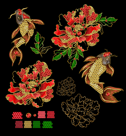 Set of patches with embroidery of Japanese koi carp and peony. Patches are decorated with sequins and beads. Vector illustration. Illustration