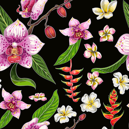 Seamless pattern with tropical flowers illustration.