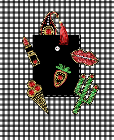Design of pocket of shirt from patches with embroidery sequins and beads. Illustration
