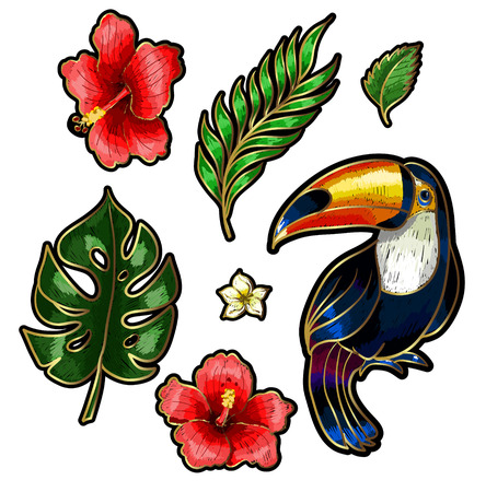 Toucan and tropical flowers icon. Illustration