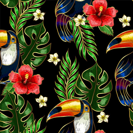 Seamless pattern of Toucan embroidery patches