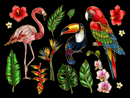 Parrot, toucan, flamingo and flowers embroidery patches