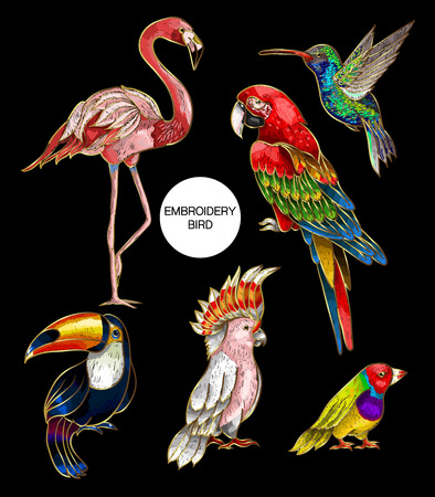 Tropical birds embroidery patches for your design. Vector illustration. Vettoriali
