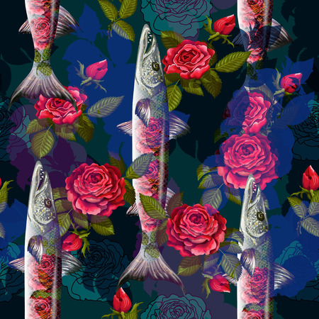 Unique fashion sealess pattern  with fish barracuda and roses  in neon style. Illustration