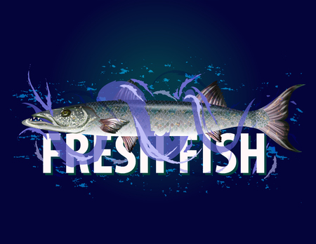 Fresh fish  with waves for banners.