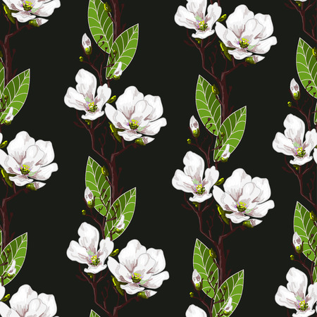 Seamless spring pattern with magnolias and green leaves.