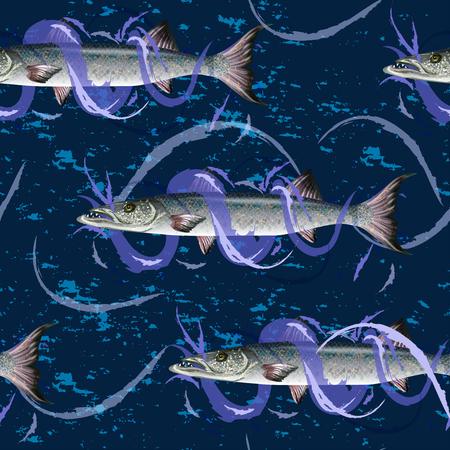 Fresh fish  with waves fish seamless pattern Illustration