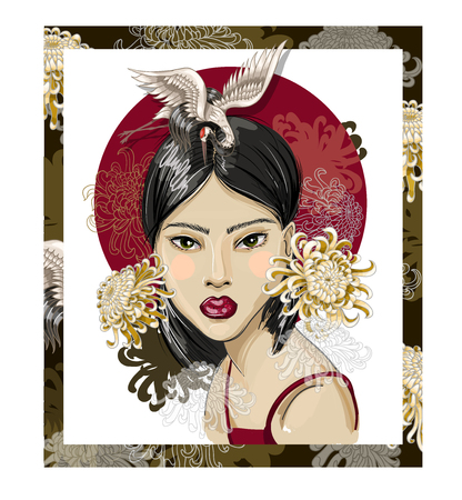 Poster or t-shirt design with Japanese fashion girl illustration. Çizim