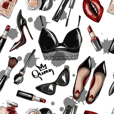 Seamless pattern with crop top, lips, shoes, lipstick, sunglasses, brush and other.