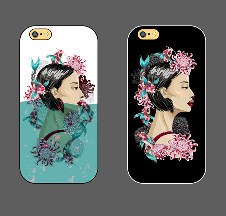 Case for phone with Japanese fashion girl in water with koi fish and flowers. 向量圖像