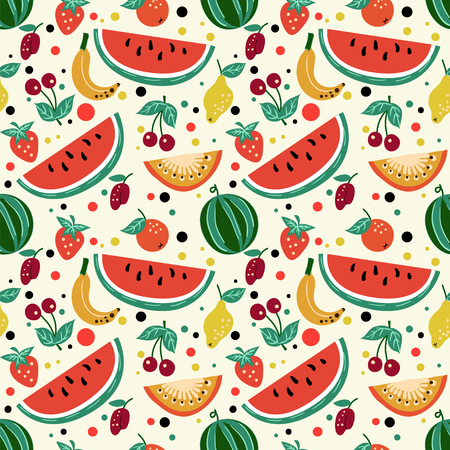 Seamless pattern of fruits, watermelon, melon, strawberry, cherry, plum, kiwi. For textile design or any other printing. Illustration