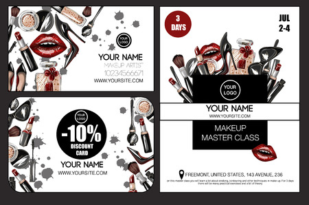 Banner, business and discount card  for master class makeup artist crop top, lips, shoes, lipstick, sunglasses, brush and other.