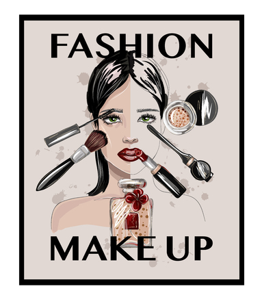 Poster or print with crop top, lips, shoes, lipstick, sunglasses, brush and other.