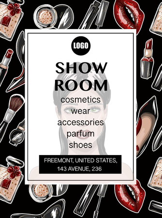 Business card for showroom with crop top, lips, shoes, lipstick, sunglasses, brush and other.