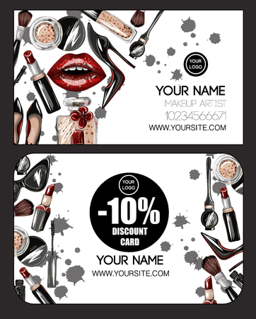 Business and discount card  for makeup artist with crop top, lips, shoes, lipstick, sunglasses, brush and other. Makeup patches vector illustration. Vettoriali