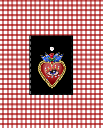 Design pocket with traditional Mexican hearts with fire and flowers, embroidered sequins, beads and pearls. Foto de archivo - 100393012