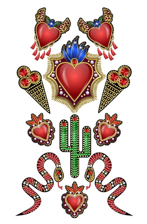 Poster or design t-shirt with traditional Mexican hearts with fire and flowers, embroidered sequins, beads and pearls. Foto de archivo - 100397865