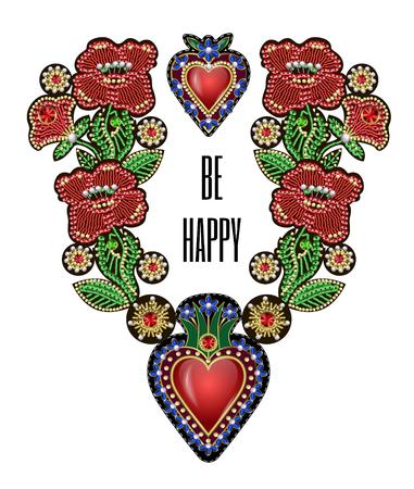 Póster o camiseta de diseño con corazones tradicionales mexicanos con fuego y flores, lentejuelas bordadas, abalorios y perlas.