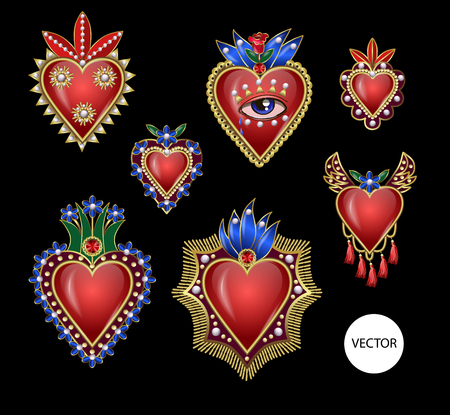 Traditional Mexican hearts with fire and flowers, embroidered sequins, beads and pearls.