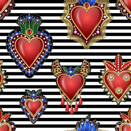 Seamless pattern with traditional Mexican hearts with fire and flowers, embroidered sequins, beads and pearls. Foto de archivo - 100501539