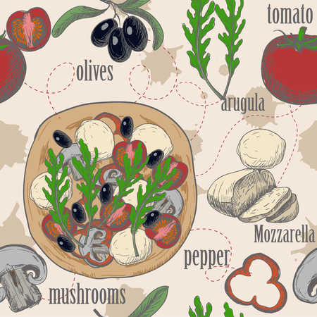 Seamless pattern with Ingredients for pizza such as olives, arugula, ham, cheese, drawn in a vintage graphic style.