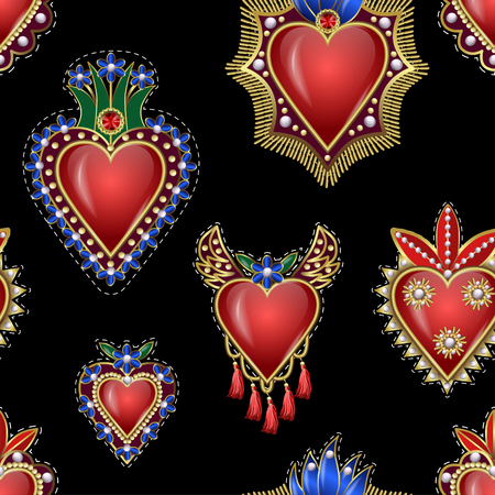 Seamless pattern with traditional Mexican hearts with fire and flowers, embroidered sequins, beads and pearls.