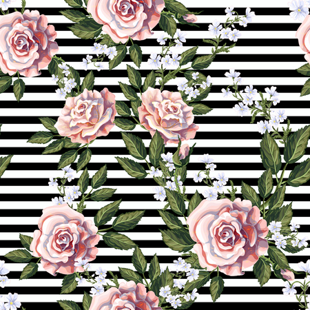 Seamless pattern with pink roses, leaves and white flowers.