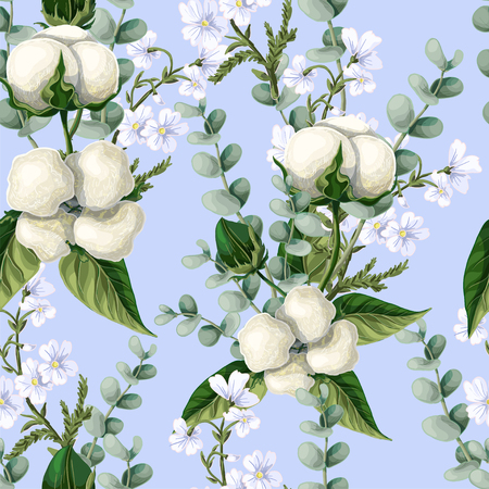 Seamless pattern with  cotton flowers, eucalyptus branches on a blue background.