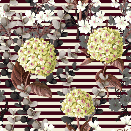 Seamless pattern with hydrangeas, cotton flowers and eucalyptus branches.