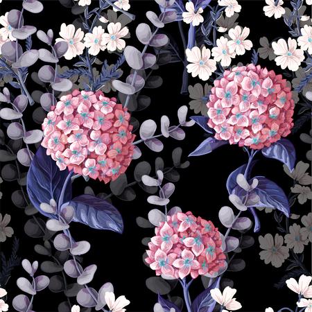Patrón sin fisuras con hortensias, flores de algodón y ramas de eucalipto.