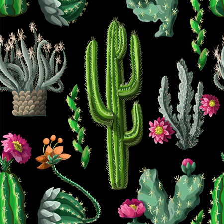 Seamless pattern with cactus and flowers on dark background. Vettoriali