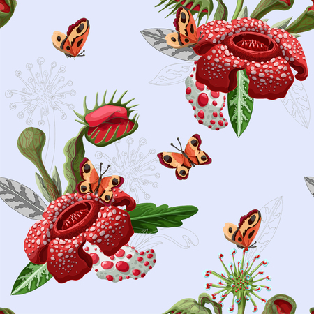 Seamless pattern with plant predators such as Venus flycatcher, sundew and others.