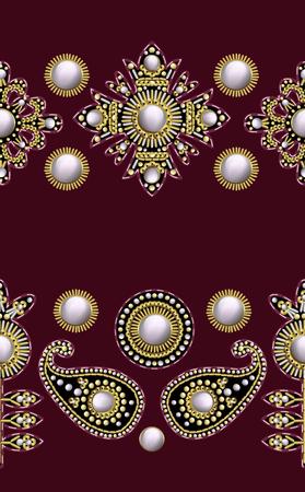 Cenefa sin costuras de parches bordados textiles con lentejuelas, abalorios y perlas.