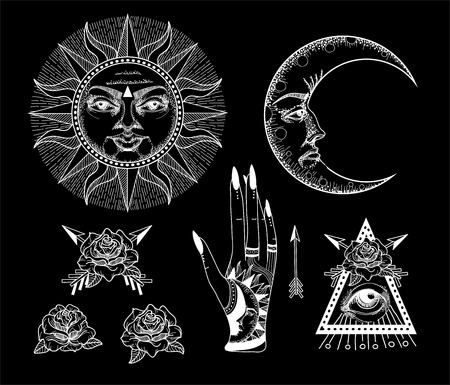 An ancient astronomical illustration of the sun, the moon, the stars, the rose, the eye in the graphic style of the antique.
