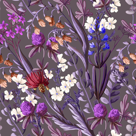 seamless pattern with wild flowers.