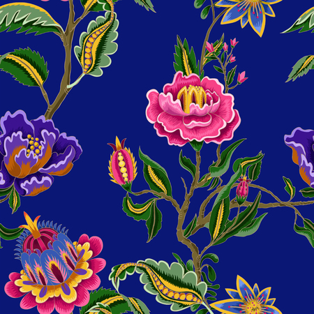 Seamless pattern with Indian ethnic ornament elements. Folk flowers and leaves for print or embroidery.