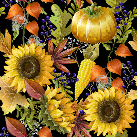 Patrón sin fisuras con hojas de otoño amarillo, girasoles y calabazas.
