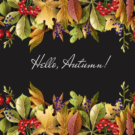 Frontera con hojas de otoño amarillo y bayas. Ilustración de vector