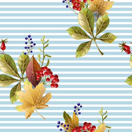Seamless pattern with autumn yellow leaves.