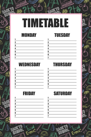 Timetable for school's lessons with  backpack, book, laptop, globe etc, drawn chalk on a blackboard.