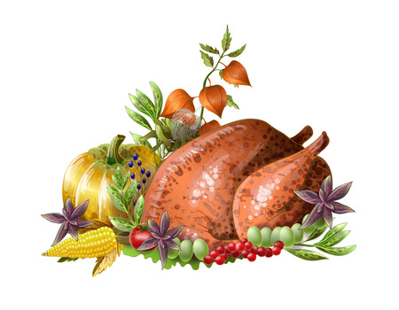 Thanksgiving  fried turkey with vegetables and herbs isolated. Çizim