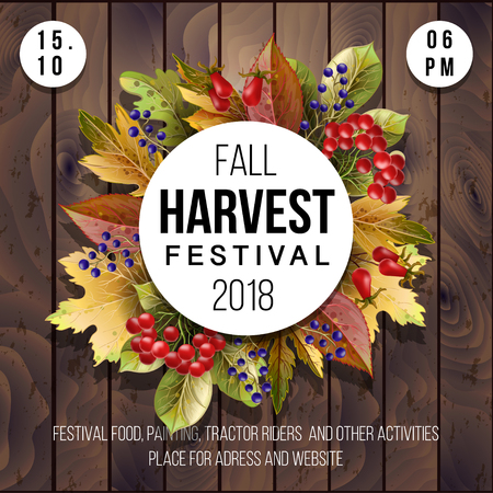Banner for Harvest festival with autumn leaves on a wood background.