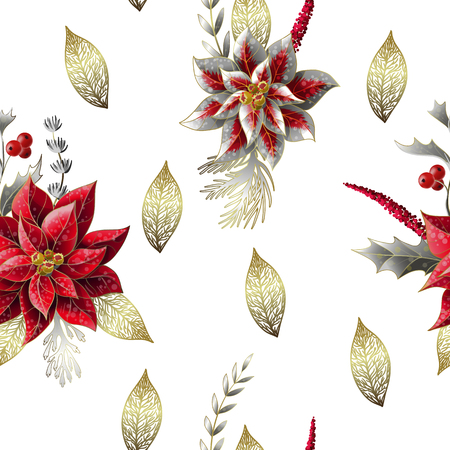 Seamless pattern with Christmas flowers.