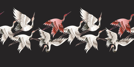 Seamless border with Japanese white crane in batik style. Vector