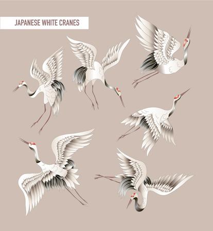 Japoński żuraw biały w stylu batiku. Wektor