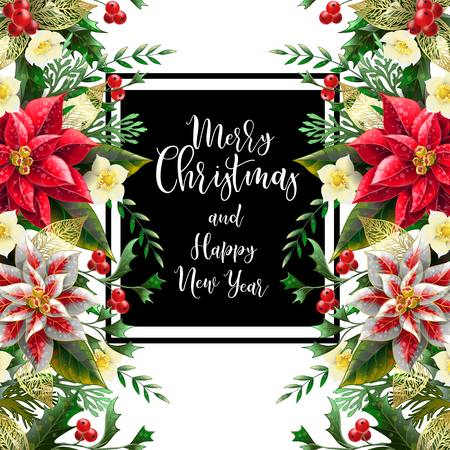 Merry Christmas poster or banner with december flowers and slogan. Vektorové ilustrace