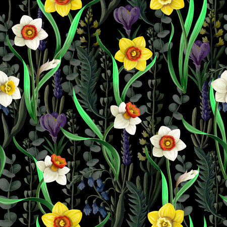 Seamless pattern with daffodils and wild flowers.